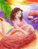 Chica joven en una playa Fotos de archivo libres de regalías