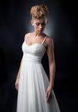 Chica joven encantadora de la novia apacible en alineada de boda Fotos de archivo libres de regalías