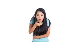 Chica joven enferma que quiere vomitar Foto de archivo