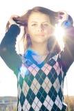 Chica joven feliz al aire libre Imagen de archivo libre de regalías