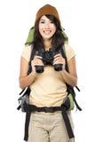 Chica joven feliz que va el vacaciones Foto de archivo libre de regalías