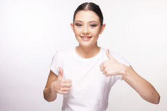 Chica joven hermosa con el apoyo Imagenes de archivo