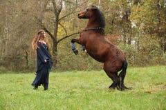 Chica joven hermosa con el caballo que se encabrita imagen de archivo libre de regalías