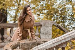 Chica joven hermosa con el pelo largo que camina en el parque Foto de archivo libre de regalías