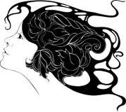 Chica joven hermosa con las flores en su pelo en el estilo de AR Foto de archivo libre de regalías