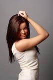 Chica joven hermosa en alineada corta Imagen de archivo libre de regalías