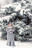 Chica joven hermosa en el bosque del invierno que sostiene la decoración Imagen de archivo