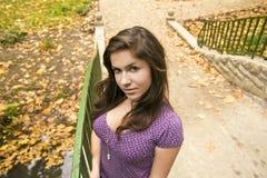 Chica joven hermosa en el puente en el parque 3 fotografía de archivo libre de regalías