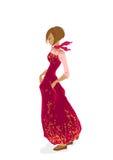 Chica joven hermosa en rojo ilustración del vector