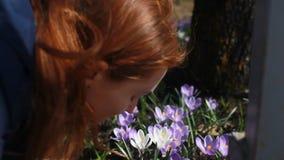 Chica joven hermosa que juega con las flores del bosque almacen de metraje de vídeo