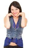 Chica joven hermosa que lleva la presentación superior de la cosecha azul Fotografía de archivo libre de regalías