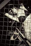 Chica joven hermosa que se coloca detrás de la rejilla metálica. Blanco y negro Imagen de archivo