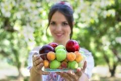 Chica joven hermosa que sostiene una placa con las frutas Foco selectivo en la placa Imagen de archivo