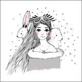 Chica joven hermosa y oso y liebres lindos libre illustration