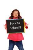 Chica joven infeliz de nuevo a escuela Foto de archivo libre de regalías