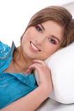 Chica joven isoalted en el fondo blanco Fotos de archivo libres de regalías