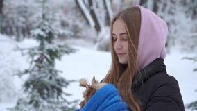 Chica joven linda del retrato que sostiene un terrier de Yorkshire envuelto en una toalla azul en las manos en un parque nevado d almacen de video
