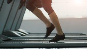 Chica joven linda que hace ejercicios en el bacground del gimnasio almacen de metraje de vídeo