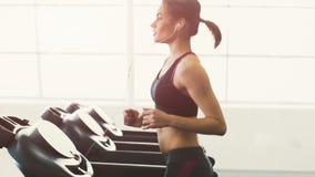 Chica joven linda que hace ejercicios en el gimnasio almacen de metraje de vídeo