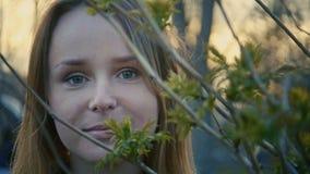 Chica joven linda que se coloca en el parque y que mira fijamente in camera, cerca para arriba Imágenes de archivo libres de regalías