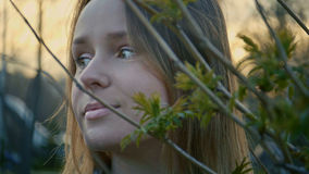 Chica joven linda que se coloca en el parque y que mira fijamente a la izquierda, cierre para arriba Foto de archivo