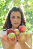 Chica joven magnífica con las manzanas Fotos de archivo