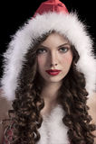 Chica joven magnífica con un capo motor de santa Imagen de archivo