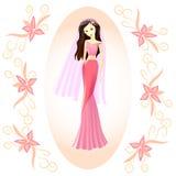 Chica joven, novia en un vestido rosado stock de ilustración
