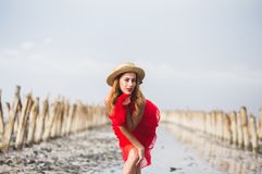 Chica joven pelirroja hermosa en la playa foto de archivo