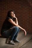 Chica joven pensativa Imagen de archivo