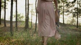 Chica joven que camina descalzo en el bosque del verano, piernas femeninas que caminan a lo largo de hierba en el parque, fps del metrajes