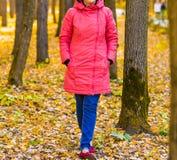Chica joven que camina en parque del otoño Foto de archivo libre de regalías