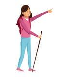 Chica joven que camina la mochila con el bastón ilustración del vector
