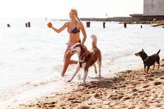 Chica joven que corre en la playa con el perro Imágenes de archivo libres de regalías