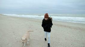 Chica joven que corre a lo largo de la playa y que juega con su labrador retriever lindo almacen de metraje de vídeo