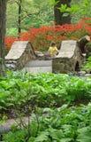 Chica joven que cruza un puente de piedra imágenes de archivo libres de regalías