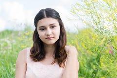 Chica joven que descansa sobre prado en verano Imagen de archivo