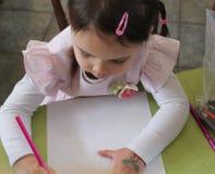 Chica joven que drena un cuadro Imágenes de archivo libres de regalías