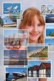 Chica joven que elige el lugar para las vacaciones de verano Imagen de archivo