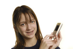 Chica joven que habla en el teléfono celular Foto de archivo libre de regalías