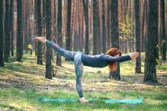 Chica joven que hace yoga en el bosque en naturaleza fotos de archivo libres de regalías