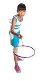 Chica joven que juega al bádminton V Foto de archivo libre de regalías
