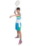 Chica joven que juega al bádminton VI Imagen de archivo libre de regalías