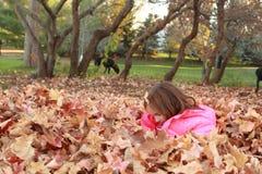 Chica joven que juega en una pila de hojas Imágenes de archivo libres de regalías