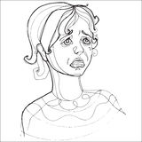 Chica joven que llora seriamente, emociones humanas Fotos de archivo libres de regalías