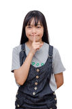 Chica joven que lo hace una custodia gesto de la tranquilidad Fotos de archivo