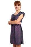 chica joven que presenta en blanco Foto de archivo