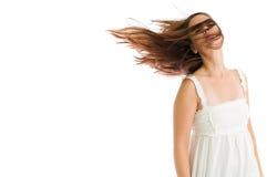 Chica joven que sacude su cabeza Imagenes de archivo