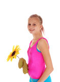 Chica joven que se coloca en bañador Imágenes de archivo libres de regalías