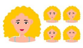 Chica joven que sonr?e, sorprendido, feliz, sonriendo, idea, clase, enojado, saludando el car?cter del vector de la cara de la em stock de ilustración